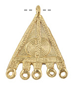 African Brass Braided Triangle w/ Sun Design Chandelier Focal 40-45x51-55mm