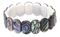 "Abalone 2-Hole Side Drilled Oval 7.5"" Stretch Bracelet 11x18mm"