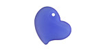 Royal Blue Recycled Glass Puffed Sweeping Heart Pendant 19x18mm
