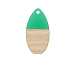 Wood & Emerald Resin Teardrop Focal 16x31mm