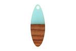 Walnut Wood & Sea Green Resin Oval Focal 10x28mm