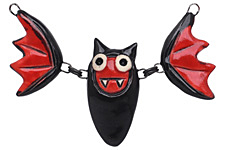 Earthenwood Studio Ceramic Black & Red Linked Bat Pendant 70x37mm