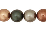 Multi (bronze, teal, flax) Shell Pearl Round 14mm