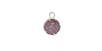 Druzy Small Coin Pendant w/ Silver Finish 8x11mm