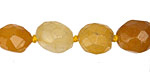 Yellow Jade Faceted Oval Nugget 16x12mm