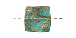 Zola Elements Patina Green Brass (plated) Wavy Hammered Square Bead 18mm