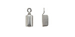 Stainless Steel Textured Fold Over Cord End 13x5mm