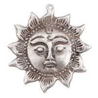 Greek Pewter Sun Face Focal 51x53mm