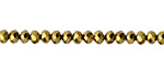 Antique Gold Crystal Faceted Rondelle 4mm