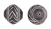 African Trade Clay Chevron Spindle Whorl Bead 22-24mm