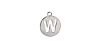 "Stainless Steel Initial Coin Charm ""W"" 10x12mm"