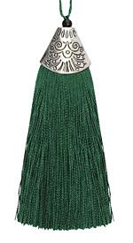 Forest Green Thread Tassel w/ Antique Silver (plated) Broad Tassel Cap 20x75mm