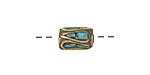 Tibetan Brass Barrel Bead w/ Turquoise Mosaic 12x9mm