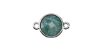Brazil Amazonite Faceted Coin Focal Link in Silver Finish Bezel 12x18mm