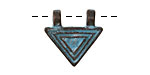 Greek Copper Patina Lined Small Triangle 2 Loop Pendant 20mm