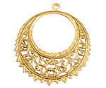 Brass Filigree Gypsy Hoop 37x40mm