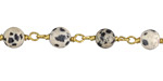 Dalmatian Jasper Round 6mm Brass Bead Chain