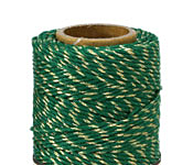 Green & Metallic Gold Hemp Twine 20 lb, 205 ft