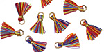 Carnival w/ Gold Binding & Jump Ring Tiny Thread Tassel 12mm