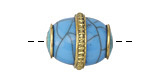 Tibetan Howlite Turquoise Rice Bead w/ Turquoise Ends & Roped Brass Detail 20-22x17mm