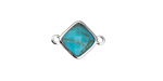 Synthetic Turquoise Faceted Diamond Focal Link in Silver Finish Bezel 17x12mm