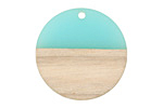 Wood & Sea Green Resin Coin Focal 28mm