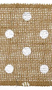 "Metallic Silver Polka Dot 4"" Burlap Wired Ribbon"