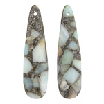 Amazonite & Pyrite Mosaic Teardrop Pendant Pair 12x46mm