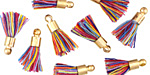 Carnival w/ Gold (plated) Bead Cap Tiny Thread Tassel 15mm