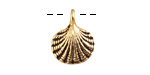 Greek Antique Gold (plated) Large Scallop Shell Charm 15x18mm