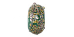 A Beaded Gift Dusted Jade Raku Large Glass Rondelle (large hole) 11-12x21-22mm
