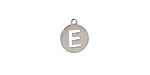 """Stainless Steel Initial Coin Charm """"E"""" 10x12mm"""