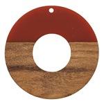 Walnut Wood & Rustic Red Resin Donut Focal 45mm