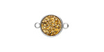 Metallic Gold Crystal Druzy Coin Link in Silver Finish Bezel 16x11mm
