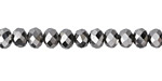 Antique Silver Crystal Faceted Rondelle 6mm