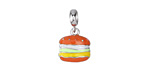 Cheeseburger Enameled Sterling Silver Charm w/ Bail 12x18mm