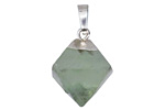 Green Fluorite Octahedron w/ Silver Finish 16-18x24-26mm