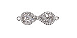 Vintage Style Clear Pave CZ Rhodium (plated) Infinity Focal Link 28x11mm