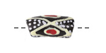 African Hand-Painted in Red/Cream/White on Black Powder Glass (Krobo) Bead 21-25x11mm