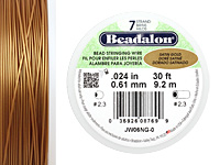 "Beadalon Satin Gold .024"" 7 Strand Wire 30ft."