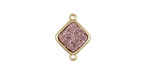 Metallic Bronze Crystal Druzy Diamond Link in Gold Finish Bezel 16x12mm
