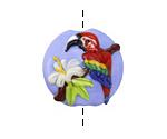Grace Lampwork Red Parrot Lentil 24x25mm