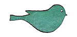 Lillypilly Sea Green Leather Large Right Facing Sparrow 19x39mm