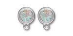 TierraCast Rhodium (plated) Stepped Bezel Ear Post w/ Crystal AB 12x17mm