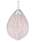 Rose Quartz Silver Finish Wire-Wrapped Tree of Life Teardrop Pendant 31x56mm
