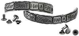 "The Lipstick Ranch Pewter ""Every Saint Has A Past..."" 2 Piece Cuff Plates w/ Rivets 82-87x11mm"