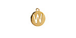 "Gold (plated) Stainless Steel Initial Coin Charm ""W"" 10x12mm"