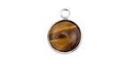Tiger Eye Coin Focal w/ Silver Finish 13x17mm