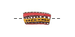 African Handpainted in Red/Saffron/White Stripes on Brown Powder Glass (Krobo) Bead 22-27x10-11mm