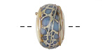 A Beaded Gift Cyan Frit Luxe Large Glass Rondelle (large hole) 11-12x21-22mm
